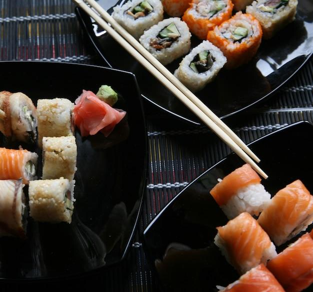 Japanese sushi and rolls
