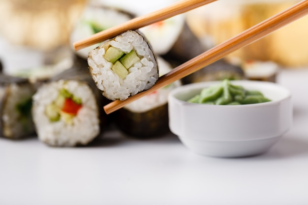 Japanese sushi set with green tea ready to serve
