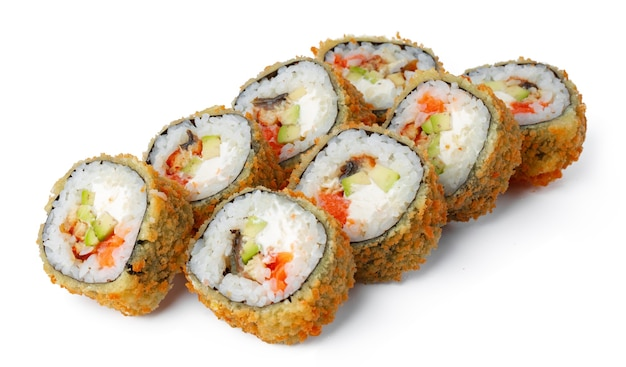 일본 스시 튀김 롤 흰색 절연