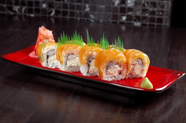 Japanese sushi  traditional japanese food. roll made of salmon