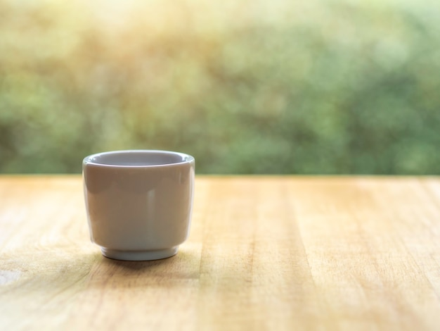 Japanese tea with nature background and great lighting in morning time