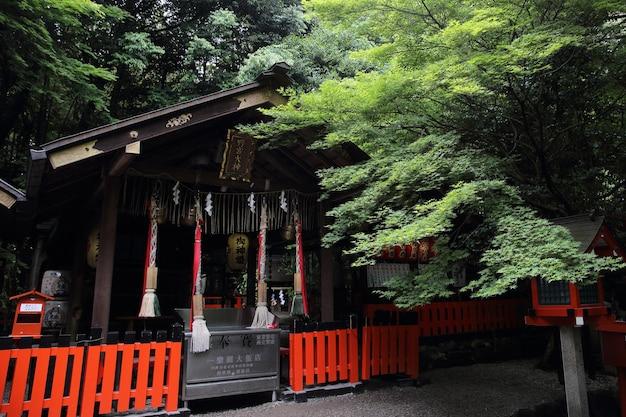 일본 교토의 붉은 문과 녹색 단풍잎이 있는 일본 사원