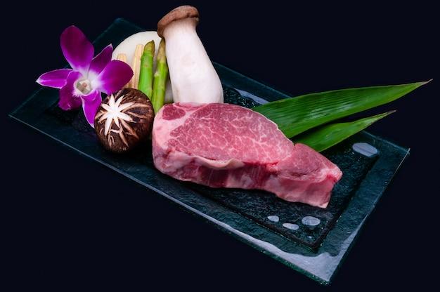Japanese tenderloin wagyu beef steak cutting in teppanyaki style