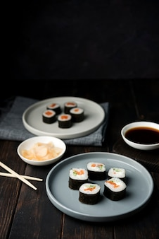 Japanese traditional sushi rolls with veggies