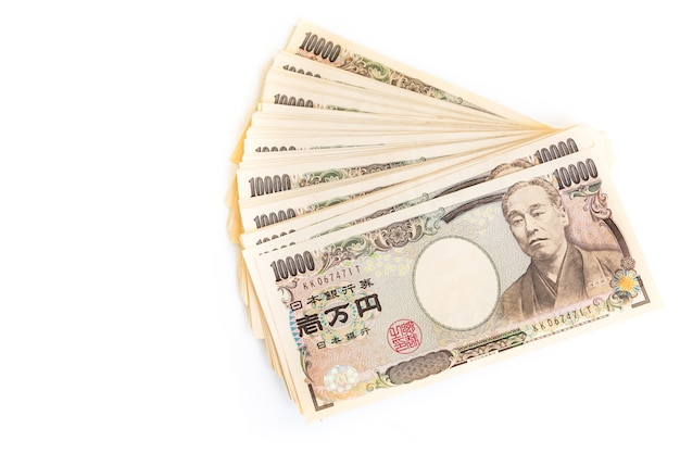 Japanese yen banknotes and japanese yen coin