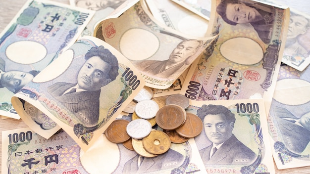 Japanese yen banknotes and japanese yen coins