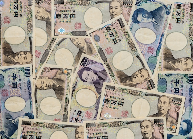 Japanese yen currency bank note background