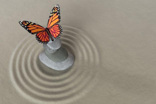 蝶との集中とリラクゼーションのための枯山水瞑想石