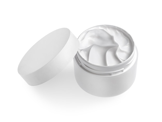 Jar of cosmetic cream isolated on white