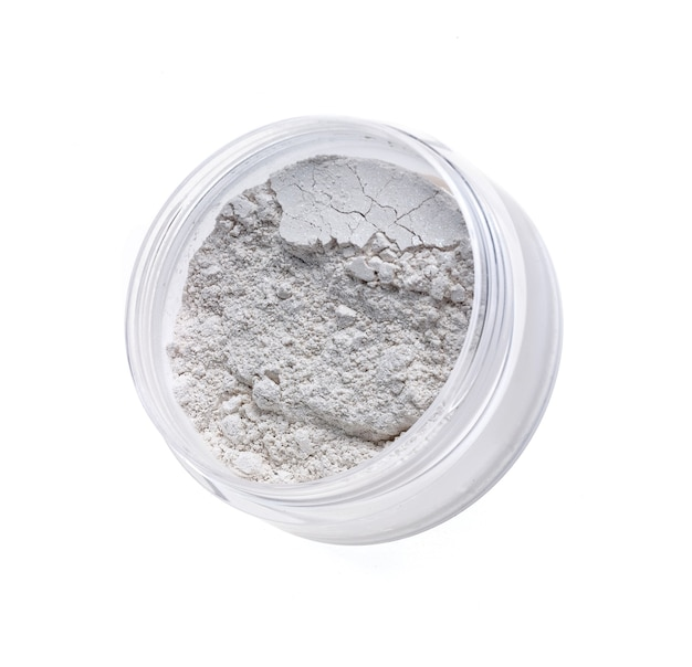 Jar of face powder isolated on white