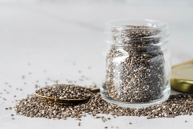 Jar filled with organic seeds