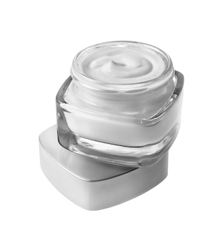 白で隔離の化粧品クリームの瓶