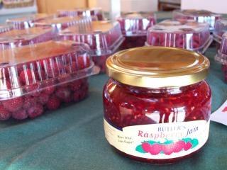 Jar of raspberry jam at butlers fruit sh
