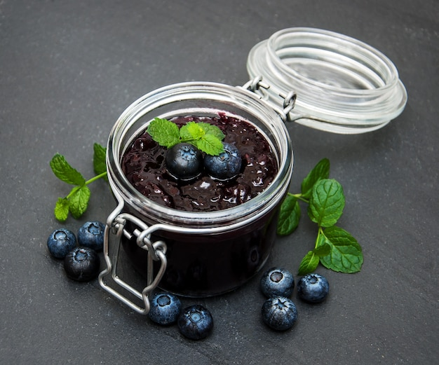 Jar with blueberry jam