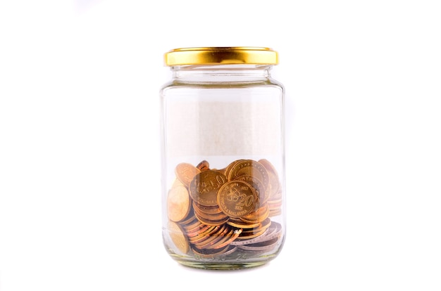 동전, 흰색 절연 돈 항아리