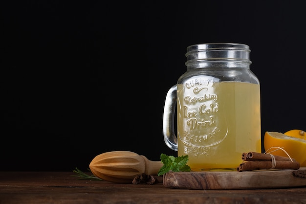 Jar with delicious homemade lemonade