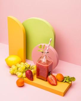 Jar with fresh smoothie