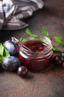 Jar with homemade plum jam