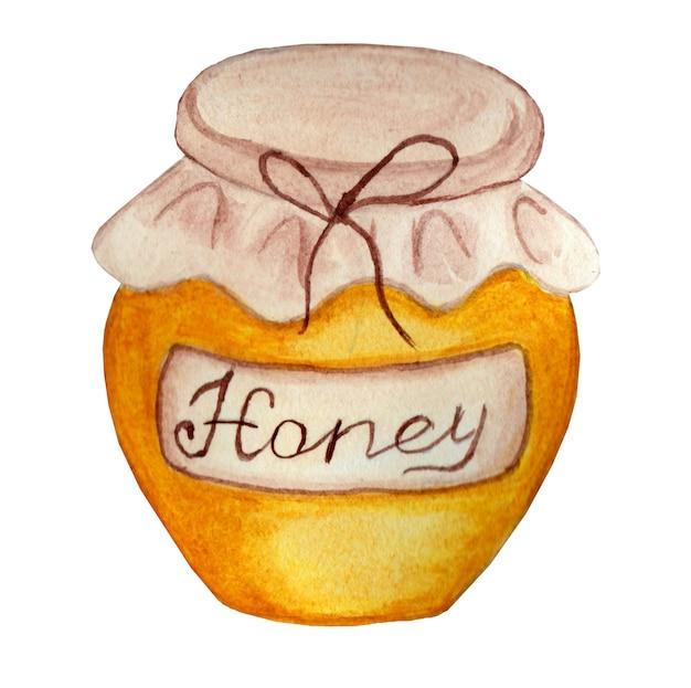 白い背景に分離された蜂蜜ベージュのレトロなラベルが付いている瓶蜂蜜の鍋水彩画