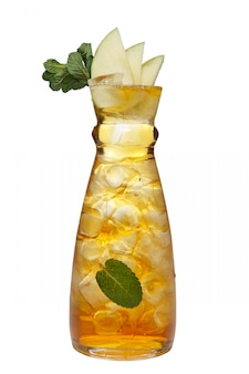 Jar with icy apple and mint drink.