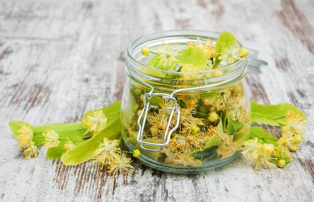 Jar with linden flowers
