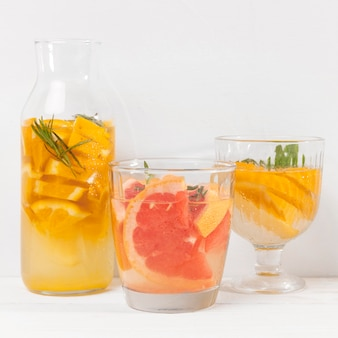 Jar with refreshing fruits drink