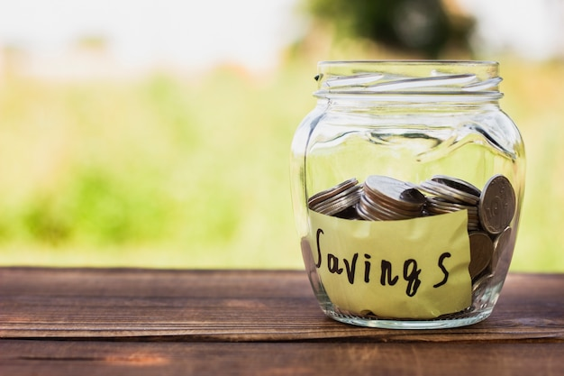 Jar with savings and copy-space