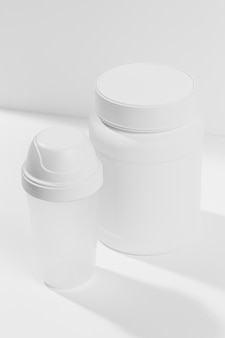 Jar withsupplements for gym
