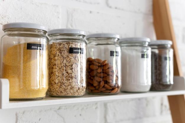 Jars arrangement on shelf