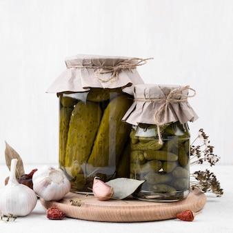 Jars arrangement with pickles