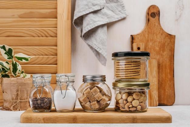 Jars full of food ingredients