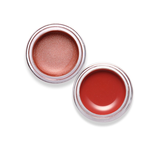 Jars of lip gloss isolated on white