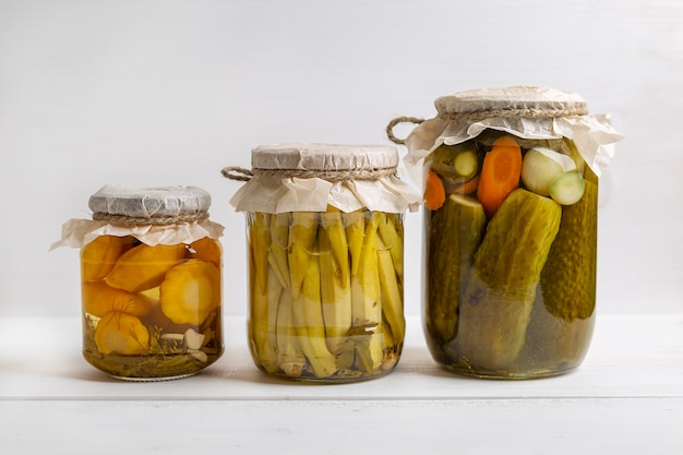 Jars of pickled vegetables