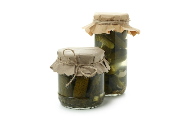 Jars of pickles isolated on white background