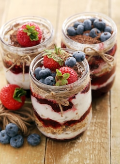 Jars with berries