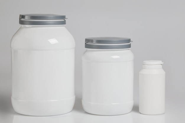Jars with food supplements