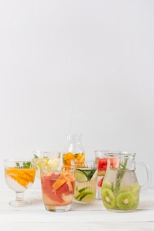 Jars with fresh drinks copy-space
