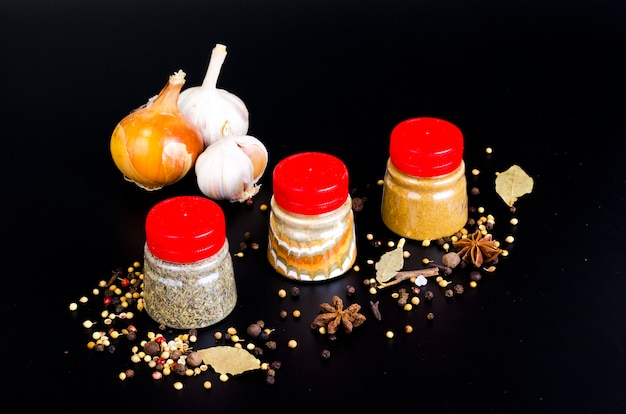 Jars with ground dried spices, herb