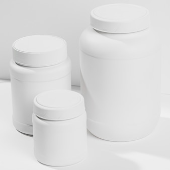 Jars with gym powder supplements