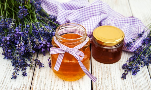 Jars with honey and lavender