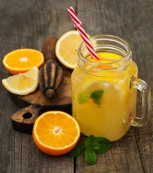 Jars with lemonade
