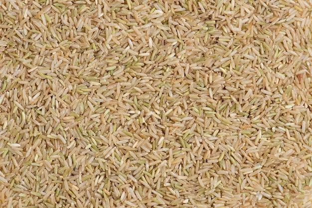 Jasmine brown rice closeup flatlay topview.