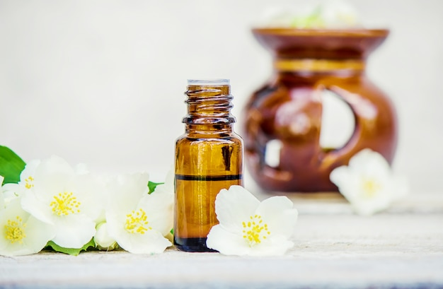 Jasmine essential oil. selective focus. nature aroma.