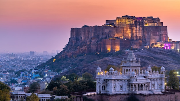 The jaswant thada and mehrangarh fort in background at sunset, the jaswant thada is a cenotaph located in jodhpur, it was used for the cremation of the royal family marwar, jodhpur. rajasthan, india