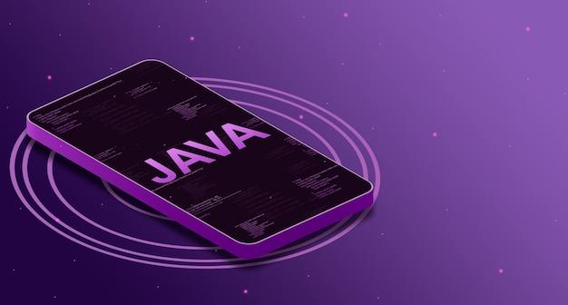 Язык программирования java на экране телефона с элементами кода, цифровой язык 3d