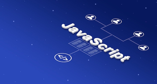 Javascript programming language system with user icons 3d