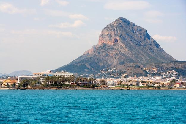 Javea xabia port marina with mongo mountain in alicante