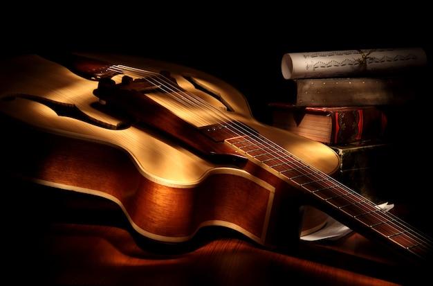 Jazz guitar shot in low key.