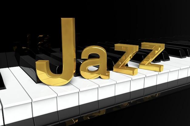 ジャズ音楽のコンセプト。金色のジャズサインが付いた黒いピアノの鍵盤。