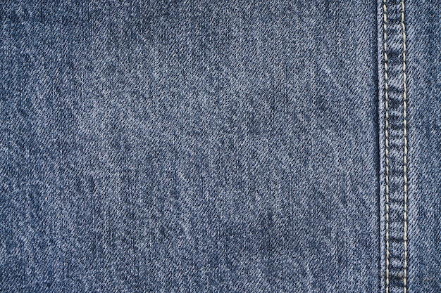 Jeans background, denim with seam of fashion design, space for text. flat lay